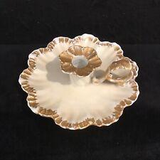 Antique French porcelain leaf shaped Limoges old style Chamber candle holder-607
