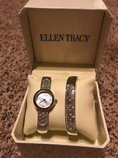 Ellen Tracy Silver Tone Rhinestones MOP Bangle Cuff Watch Lady w/ Bracelet Set