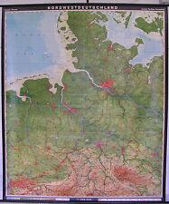 schöne alte Schulwandkarte Schulkarte Nordwest Hamburg Nordsee Sylt 190x225 1971