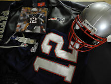 """ NFL PATRIOT "" HELMET + JERSEY + JACKET + TOM BRADY PHOTO"
