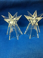 Pair of Mikasa Lead Crystal GALAXIA Candle Holders Starburst Star Germany