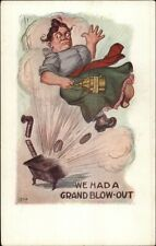 House Wife Blown Up by Kitchen Stove Kersoene Can in Hand c1910 Postcard rpx