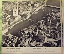 1962 Carte sur la Suisse Paysages Zurich la cité  ,Lucerne le pont des chapelles
