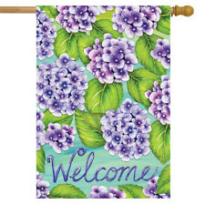 "Purple Hydrangeas Spring House Flag Welcome Floral 28"" x 40"" Briarwood Lane"