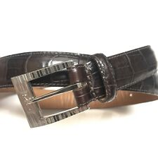 Polo Ralph Lauren Leather Alligator Print Brown belt 25 - 28 women Petite USA