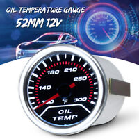 52mm 2'' Universal Car Smoke Lens LED Pointer Oil Temperature Temp Gauge