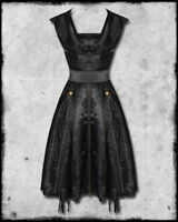 Spin Doctor steampunk goth Laverna black Chinese dragon brocade hooded dress XS