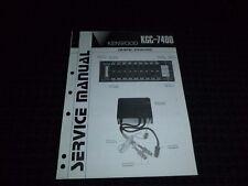 Vtg Original Kenwood Service Manual Model KGC 7400 Graphic Equalizer