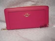 COACH Crossgrain leather accordi zip around wallet PINK RUBY 52648 NWT+receipt!
