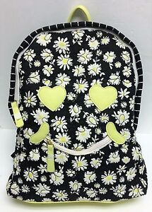 LUV JOHNSON BLACK+WHITE STRIPE QUILTED DAISY FLORAL,SMILEY FACE BACKPACK,BAG