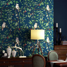 10M Tropical Blue Italian Owl Leaves Pure Paper Wallpaper Embossed Textured Roll