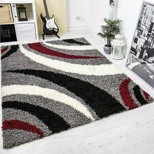 Moderner Hochflor Shaggy Designer Teppich carpet grau schwarz rot Blitzversand