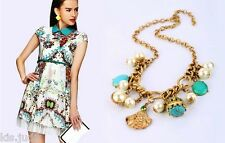 Bellissima Collana Vintage  girocollo con charms, perle e strass - Oro antico