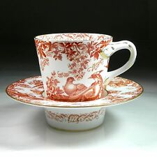 Royal Crown Derby Red Aves Trembleuse Chocolate Cup & Saucer Older RARE