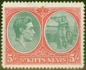 St Kitts 1945 5s Bluish Green & scarlet SG77bcVar Break in Oval Touched in by