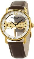 Stuhrling Men's Exposed Bridge Mechanical Skeleton Dial Gold Dress Watch 976.03