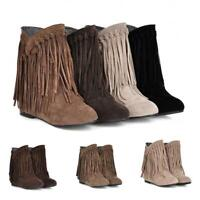 Womens Ladies Suede Fringe Tassel Ankle Boots Bootie Pull on Hidden Wedge Casual
