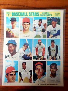1969 MLB PHOTOSTAMPS SERIES #4 ORIGINAL FULL UNCUT SHEET-12 VINTAGE MLB STARS