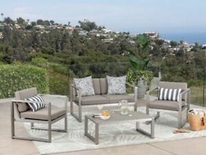 Aluminum Patio Sectional Sofa Table Set Cushioned Couch Outdoor Furniture