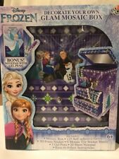 DISNEY FROZEN DECORATE YOUR OWN MOSAIC JEWELRY BOX  BONUS NOTEPAD WITH GEL PENS!