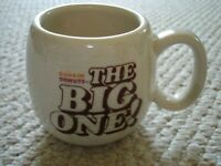 Dunkin Donuts The Big one coffee cup ribbed exterior brown cream logo