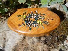 Ancienne boite à bijoux en bois souvenir de Nice décor de fleurs