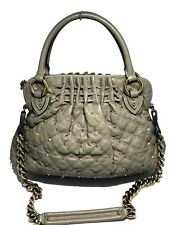 MARC JACOBS LIGHT GRAY QUILTED LEATHER STUDDED HANDBAG, $1650