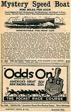 1929 small Print Ad of Odds On Spinner Horse Race Game & Mystery Speed Boat