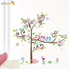 Owl Scroll Tree Wall Decal Art Vinyl Nursery Wall Stickers Kids Baby Home Decor