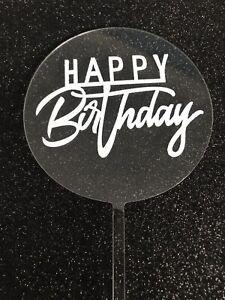 Round Acrylic Happy Birthday CAKE TOPPER 10cm