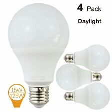4 Pack 15W A80 LED Light Bulbs E26 base Equivalent to 125W Daylight 6500 Kelvin