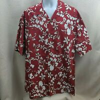 Hilo Hattie Hawaiian Aloha Mens Shirt Red & White Floral 2XL XXL 100% Cotton FS