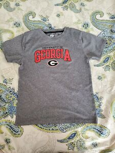 Boys University Of Georgia Bulldog  White Dri Fit Shirt S: Large 10-12