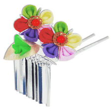 Japanese Hair Ornament Kanzashi Rainbow Silk Flowers Silver Links Small Prongs