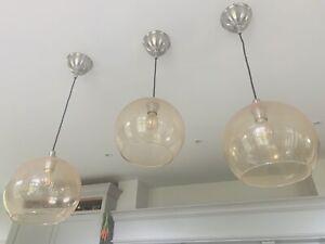 Large Amber Glass Globe Ceiling Light