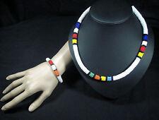 African tribal Zulu Perles Bracelet Collier Set Blanc Multi hypoallergénique