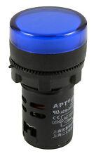 Azul Luz Piloto Led 22mm indicador de advertencia Lámpara Panel de montaje 220v
