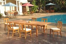 """7pc Grade-A Teak Dining Set 122"""" Caranas Rectangle Table Osborne Armless Chair"""
