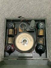 Vintage Antique Travel Pocket Volt Meter Reader w/ Case & Bulbs