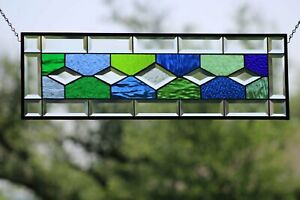 """•Transom ,Sidelight 29 1/2"""" X9 1/2""""Beveled Stained Glass"""