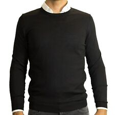 $195 Hugo Boss Men Baker Merino Wool Knit Slim Pullover Sweater Jumper Black M L