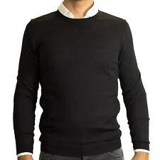 $195 Hugo Boss Men Baker Merino Wool Knit Slim Pullover Sweater Jumper Black M L
