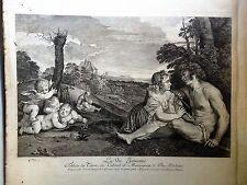 ANGELI,FLAUTO, TESCHIO.acquaforte originale Crozat Cabinet, 1763 TIZIANO