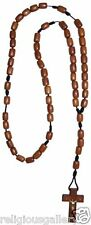 Men's Jatoba Wood Beads Catholic Rosary with Brown Cord Crucifix, Made in Brazil