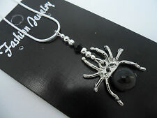 A LOVELY TIBETAN SILVER  AND BLACK SPIDER  NECKLACE. GOTH. NEW.