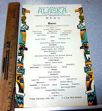 vintage Northland Transportation co. Alaska Steamship Cruise Menu, 1939, RARE!