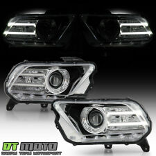 *Halogen Model* 2010-2014 Ford Mustang w/LED DRL Tube Projector Headlight Chrome