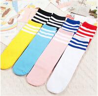 1x enfants en bas âge genou haute longueur coton rayures chaussettes sport I
