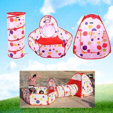 3 tlg Kinderzelt mit Tunnel Kinder Spielzelt Spielhaus Bällebad Krabbeltunnel TR Spielzeug für draußen