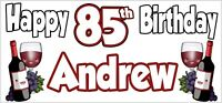 Red Wine 85th Birthday Banner x2 Party Decoration Adult Ladies Mens ANY NAME